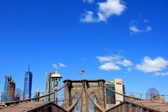 Brooklyn Bridge, New York City, USA. The Brooklyn Bridge over East River in New York City, USA Stock Photos