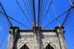 Brooklyn Bridge, New York City, USA. The Brooklyn Bridge over East River in New York City, USA Royalty Free Stock Photos