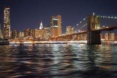 Brooklyn Bridge New York Manhattan Hudson River.  Stock Images