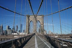 Brooklyn Bridge New York Manhattan Hudson River Stock Photos