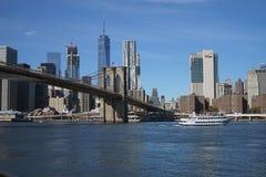 Brooklyn Bridge New York Manhattan Hudson River.  Stock Photo