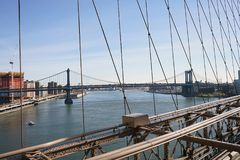 Brooklyn Bridge New York Manhattan Hudson River Stock Photography