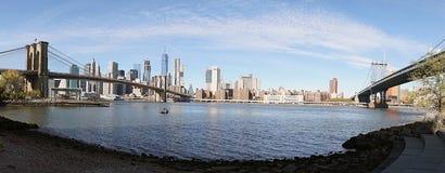Brooklyn Bridge New York Manhattan Hudson River.  Royalty Free Stock Photo