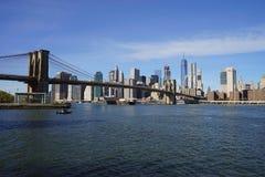 Brooklyn Bridge New York Manhattan Hudson River.  Stock Photography