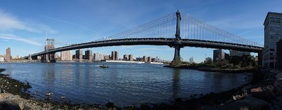 Brooklyn Bridge New York Manhattan Hudson River Royalty Free Stock Image