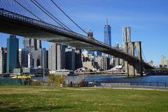 Brooklyn Bridge New York Manhattan Hudson River Stock Photo