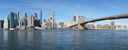 Brooklyn Bridge New York Manhattan Hudson River.  Stock Image