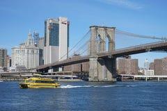 Brooklyn Bridge New York Manhattan Hudson River.  Royalty Free Stock Photos