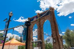 Brooklyn Bridge, New York-New York Hotel and Casino, Las Vegas Strip in Paradise, Nevada, United States. Las Vegas, Nevada - May 28, 2018 : Brooklyn Bridge, New royalty free stock photography