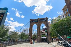 Brooklyn Bridge, New York-New York Hotel and Casino, Las Vegas Strip in Paradise, Nevada, United States. Las Vegas, Nevada - May 28, 2018 : Brooklyn Bridge, New royalty free stock photo