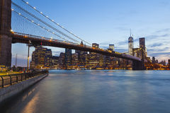 Brooklyn Bridge in New York At Night Stock Images