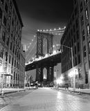 Brooklyn Bridge in New York. Photo was shot from Brooklyn's side. Brooklyn Bridge, The famous bridge connect Manhattan and Brooklyn borrows. New York City stock photography