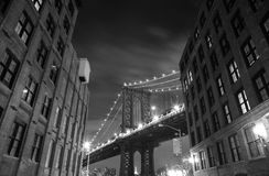 Brooklyn Bridge in New York. Photo was shot from Brooklyn's side. Brooklyn Bridge, The famous bridge connect Manhattan and Brooklyn borrows. New York City stock image