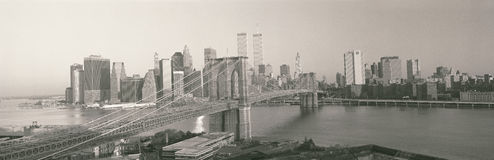Brooklyn Bridge and New York skyline Stock Images