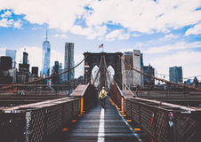 Brooklyn Bridge and New York skyline Stock Image