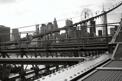 Brooklyn Bridge. And New York skyline in the background Stock Photography