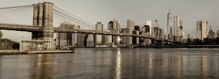 Brooklyn bridge and New York Skyline Royalty Free Stock Image