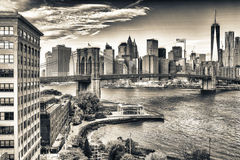 Brooklyn Bridge in New York on a sunny day Royalty Free Stock Images