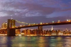 The Brooklyn Bridge in New York at sunset Royalty Free Stock Photography