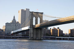 Brooklyn bridge. The Brooklyn Bridge in New York with sunset light Stock Images