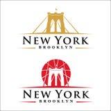 Brooklyn Bridge New York. New York symbol - Brooklyn Bridge - vector illustration -graphic design Stock Image