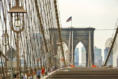 Brooklyn bridge New York on top of the bridge, Manhattan side stock image