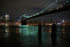 Brooklyn Bridge at night Royalty Free Stock Image