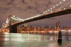 Brooklyn Bridge  At Night Stock Photography