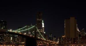 Brooklyn bridge at night. The Manhattan Bridge illuminated at night spanning the East River in New York city Stock Photography