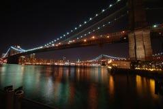 Brooklyn bridge by night royalty free stock photos