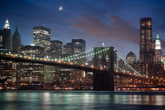 Brooklyn Bridge at Night. The Brooklyn Bridge in New York City Stock Photo