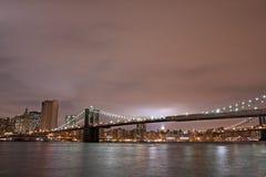 Brooklyn Bridge at night Stock Photos