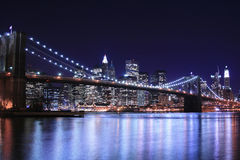 Brooklyn Bridge At Night Stock Photo