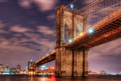 Brooklyn Bridge at Night Royalty Free Stock Image