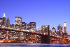 Brooklyn Bridge At Night Royalty Free Stock Photo