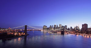 Brooklyn Bridge at night. New York City and Brooklyn Bridge at night Royalty Free Stock Photography