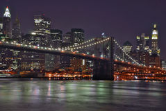 Brooklyn Bridge at Night Royalty Free Stock Photos
