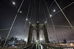 Brooklyn Bridge at Night. Brooklyn Bridge during a dark foggy night stock image