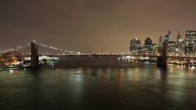 Brooklyn bridge night light  4k time lapse from new york city stock video footage