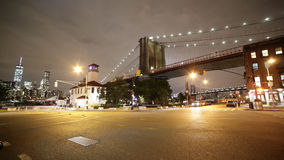 Brooklyn bridge night light street 4k time lapse from ny usa stock footage