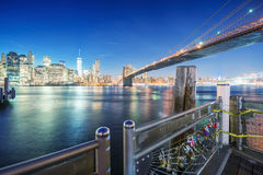 Brooklyn Bridge at night with Lower Manhattan skyline from Brook Stock Photography