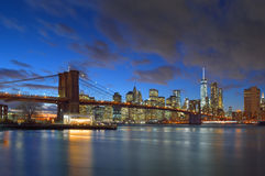 Brooklyn Bridge at night. Royalty Free Stock Images