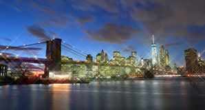 Brooklyn Bridge at night. Stock Photos