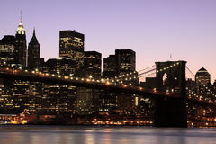 Brooklyn Bridge At Night, New York City Royalty Free Stock Photography