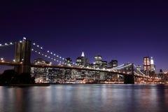 Brooklyn Bridge At Night, New York City Stock Image