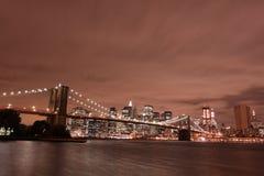 Brooklyn Bridge At Night, New York City Royalty Free Stock Photo