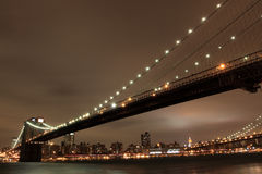 Brooklyn Bridge At Night, New York City Stock Image