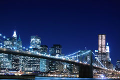 Brooklyn Bridge At Night, New York City stock photography