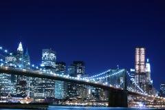 Brooklyn Bridge At Night, New York City Stock Photography