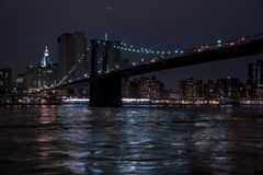 Brooklyn Bridge at night Stock Image